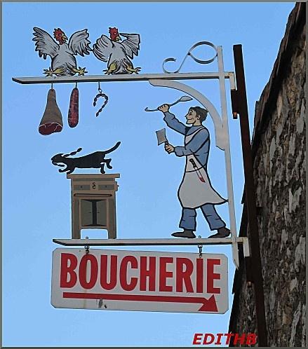 Enseigne : photo de l' enseigne d'une boucherie - charcuterie, remplie d'humour dans l'Hérault
