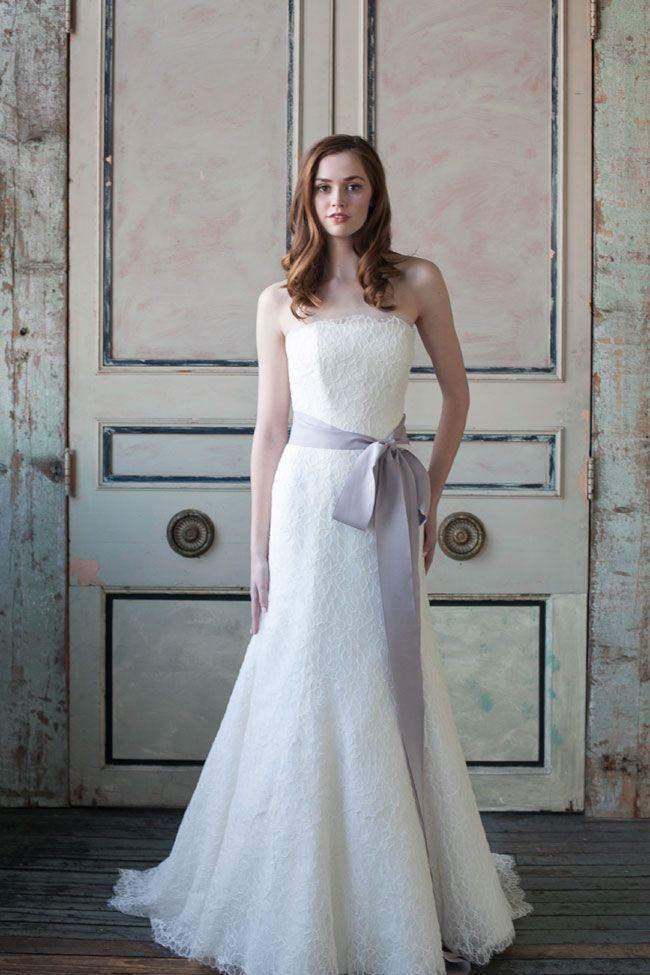 Romantic Sareh Nouri Wedding Dress with Lavender Sash