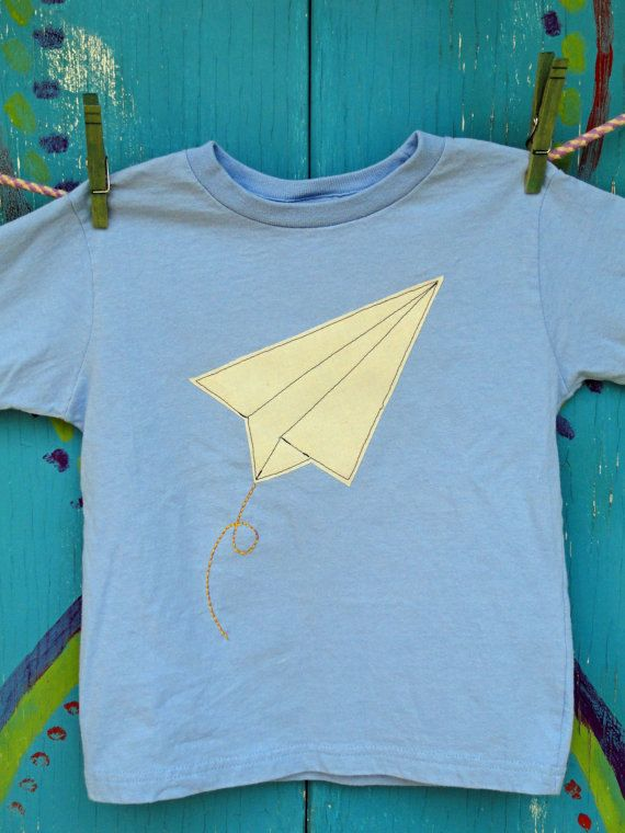 Paper Airplane Tshirt, Royal Blue, Appliqued and Hand-Embroidered, Short Sleeve Shirt, Boys 4T, READY-TO-SHIP. $20.00, via Etsy.