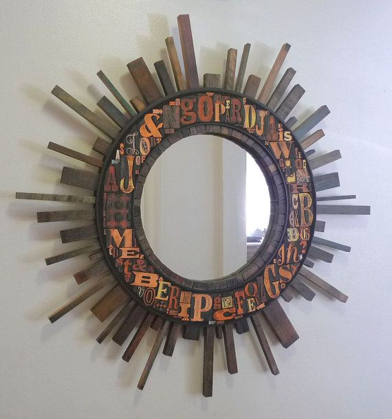 "Large SUNBURST Mirror 31"" encircled by Art PRINT of LETTERPRESS Type, Vintage Printing, Industrial Decor, Starburst, Typography Chic"