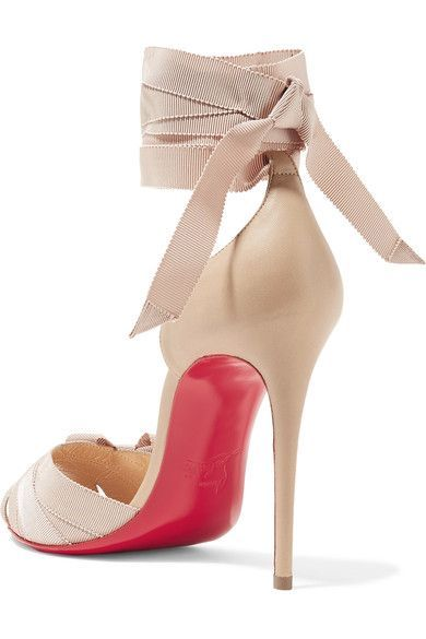 Christian Louboutin - Christeriva 100 Bow-embellished Grosgrain And Suede Sandals - Beige - IT35.5