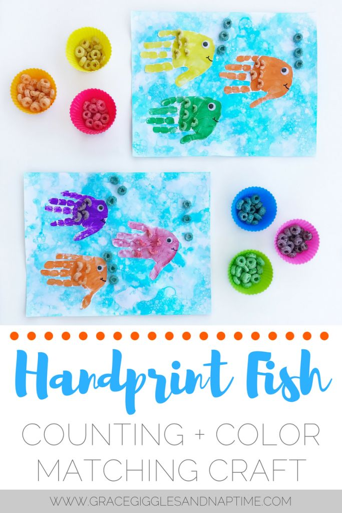Handprint Fish | Counting + Color Matching Craft with Fruit Loops + Bubble Art