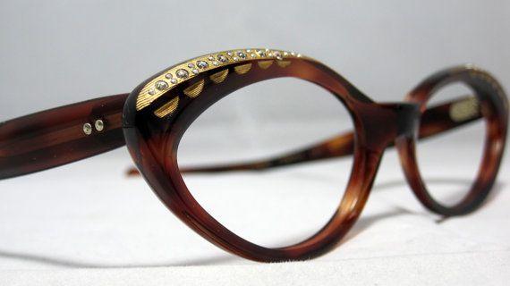 Vintage 50s Cat Eye Glasses. New Old Stock Tortoise with Rhinestones. $95.00, via Etsy.