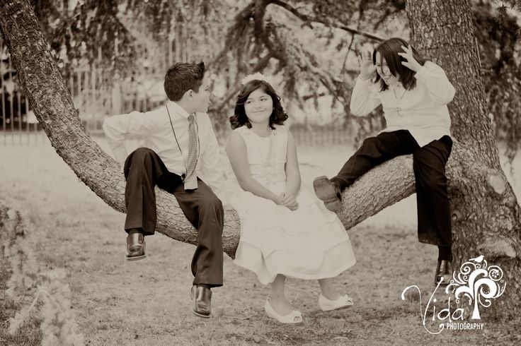 Black & White-First Communion-Candid Photography...cousins sitting in a tree-by Rosanna Castillo