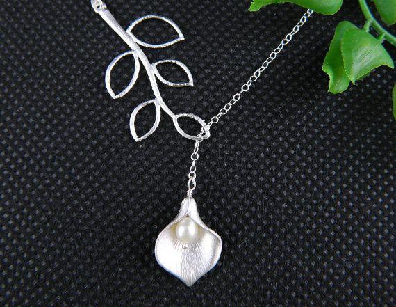 Lariat Bridesmaid Necklace, Calla Lily Necklace, Leaf Necklace, Bridesmaid Gift, Valentines Gift, Wedding Jewelry via Etsy