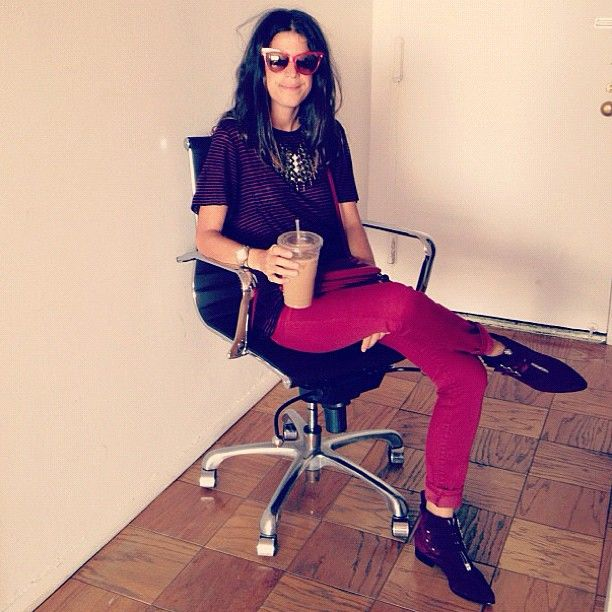 """Leandra of """"The Man Repeller"""" rocking UO's red jeans @Man Repeller #bdg #urbanoutfitters"""