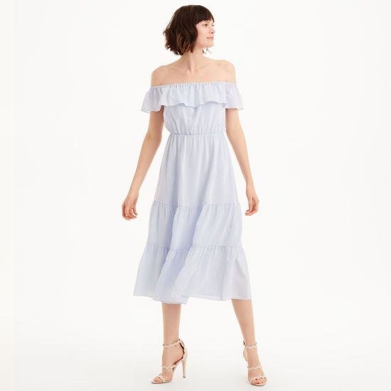 "With off-the-shoulder ruffles in an airy, super soft silk, the Hamisi evokes a restrained bohemian air paired with modern femininity. Silk; lining: polyester Relaxed fit 49"" in length, based on a size 6 Elasticized off-the-shoulder ruffled neckline; elasticized waist; tiered skirt with ruffles Dry clean Imported"