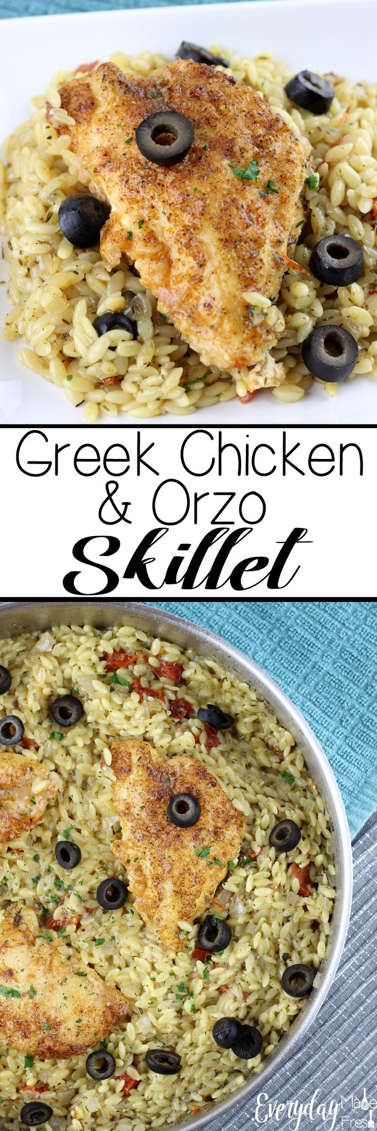 Weeknight meals just got a whole lot easier with this Greek Chicken & Orzo Skillet! Loaded with flavors and ready in less than 20 minutes. EverydayMadeFresh.com http://www.everydaymadefresh.com/greek-chicken-orzo-skillet/