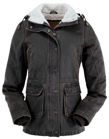 Outback Trading Co. Woodbury Jacket Ladies Brown Cotton Blend Faux Fur