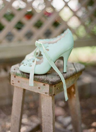 Retro-chic mint pumps with silk laces. Love!   Photography: Adrian Michael - adrianmichaelphoto.com