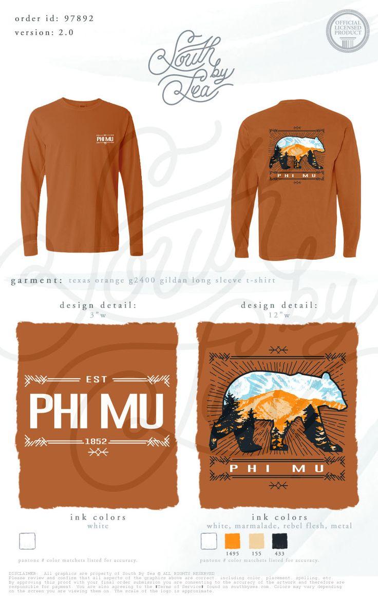 Shirt design mission tx - Phi Mu Bear Tee Shirt Design Outdoor Hiking Graphic Design South By Sea