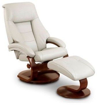 Leather Swivel Recliner With Ottoman, Putty transitional-recliner-chairs
