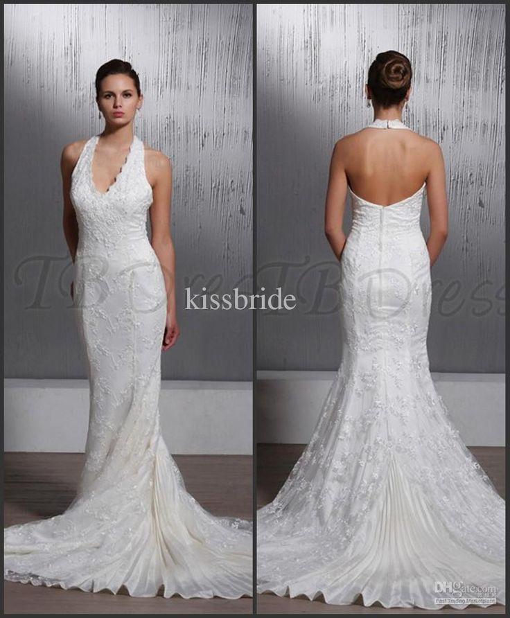Wholesale Wedding Dresses - Buy New Junoesque 2013 Mermaid Wedding Dresses Halter Top Strap Zipper Ruched Lace Applique Bridal Gown, $127.54 | DHgate