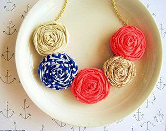 Nautische rozet verklaring ketting met zomer rozet verklaring ketting, koraal rozet ketting, rozet stof ketting, nautische sieraden
