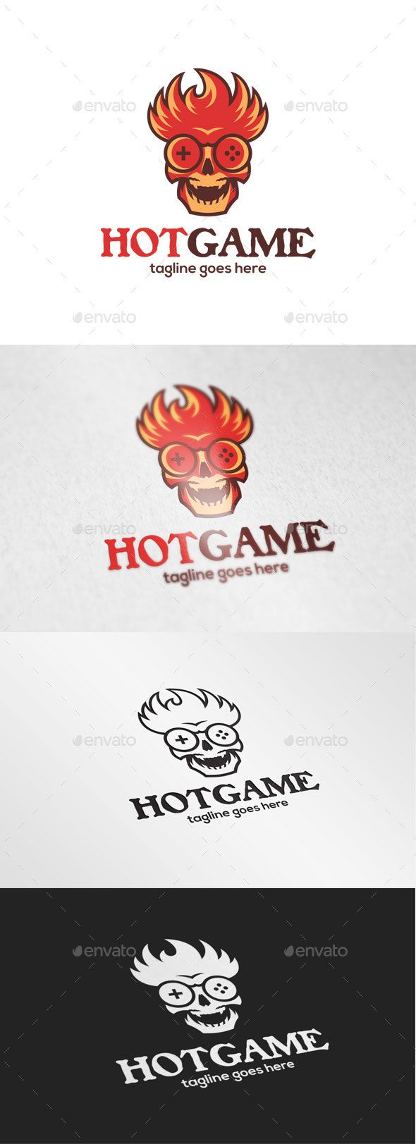 Fire Skull Game Logo Template Vector EPS, AI Illustrator. Download here: http://graphicriver.net/item/fire-skull-game-logo/15529999?ref=ksioks