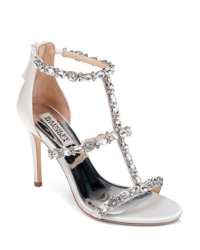 284a5b7575ed Badgley Mischka - Women s Querida Embellished Metallic Satin High-Heel  Sandals