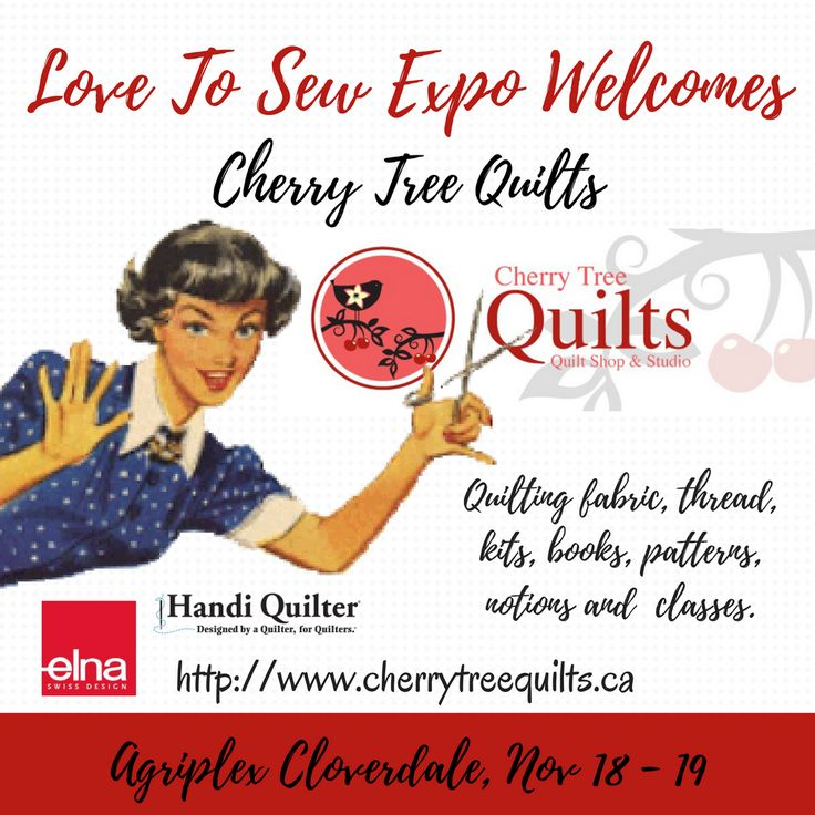 Cherry Tree Quilts is a destination Quilt Shop and Longarm Quilting Centre located in Summerland, BC.  They are a full service quilt store offering everything you need for quilting, sewing, embroidery and fibre art. Their Handi Quilter Showroom has the largest selection of Longarm Quilting Machines anywhere in BC.  Click on the link in our profile to see the Exhibitor List. @cherrytreequilts