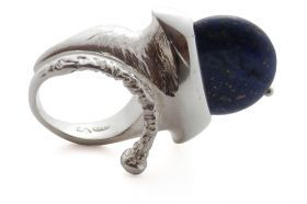 Ring The Seventh Day Art Ring. Silver 925 and lapis lazuli. Single piece.