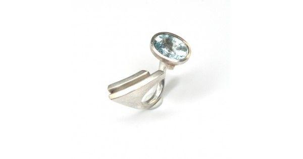 Inel futurist de designer - argint & acvamarin