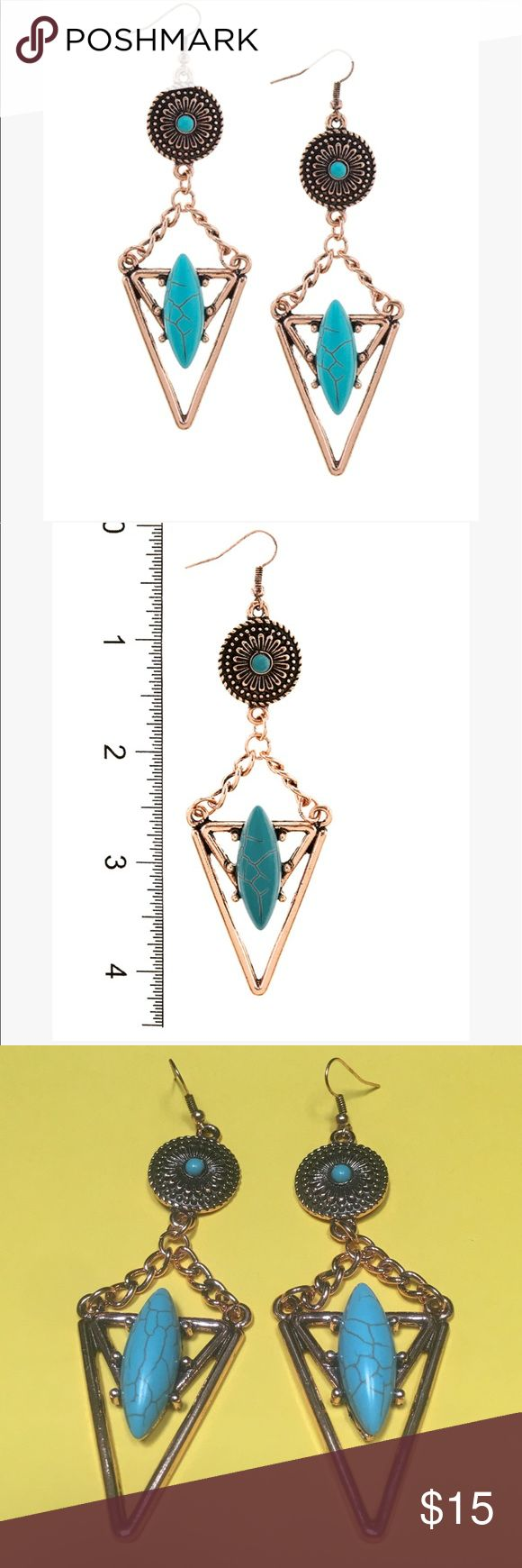 """🆕Antique Copper Festival Earrings Drop Approx. 4.4"""" Fish hook. Faux stone. Price firm unless bundling. Get a better value when you bundle. Copper and turquoise colors. Evolving Always Jewelry Earrings"""