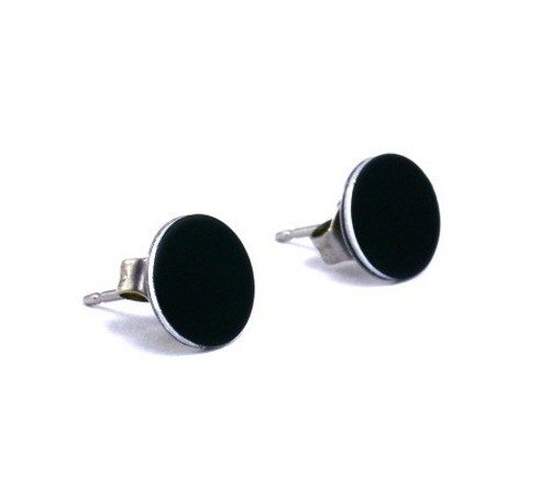 Matte Black Flat Disc Earrings Cool Ear Studs Men Guys Teen Rocker 8mm