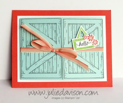 The Barn Door bundle from the new Occasions Catalog has been wildly popular! I designed three different cards for my January Stamp of the Month Club card kit and created each one with a door that open