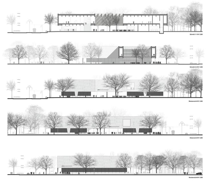 Bauhaus Museum Finalist Acts as a Gate Between City and Park,Building Sections