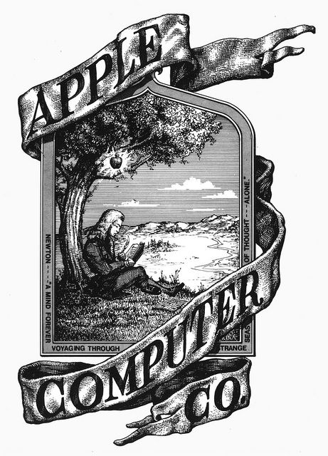 Apple's absolute first logo, pre 1976. Drawn by then co-founder Ronald Wayne. The logo features Sir Isaac Newton sitting under the apple tree where he supposedly discovered gravity, by an apple falling on his head.