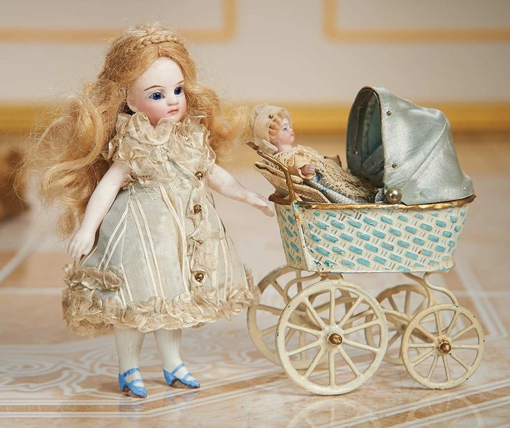 Cotillion - The Susan Whittaker Collection : 130 German All-Bisque Miniature Doll with Maerklin Carriage and Tiny Mignonette