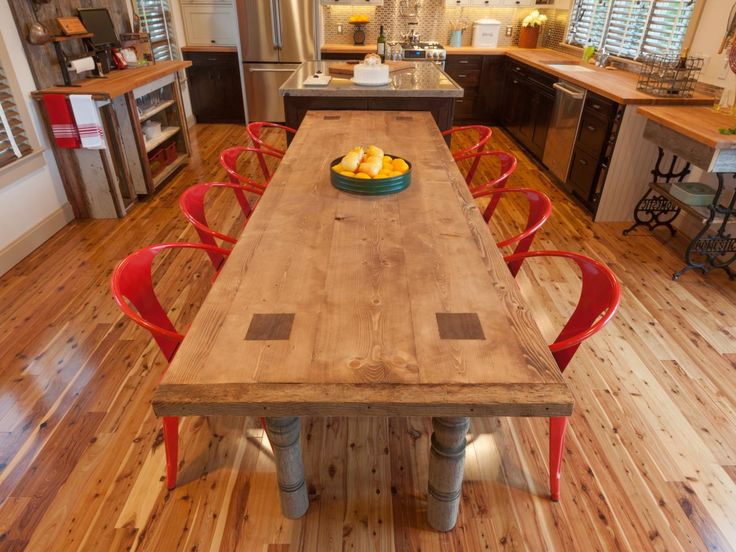 red kitchen chairs reclaimed wood table - Google Search - Images About Spirit Island Idea: Little Free Library On