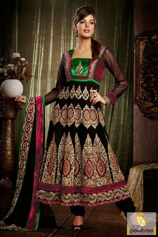 Tantalizing black bemberg anarkali embroidery party wear salwar suit will give you mesmeric look with golden maroon embroidery patch work and lovely lace.  #pavitraa, #salwarsuits, #anarkalisalwarsuits, #designerdresses, #partyweardresses, #salwarkameez, #lehengasuits, #bollywooddresses, #onlinesuit, #promdress