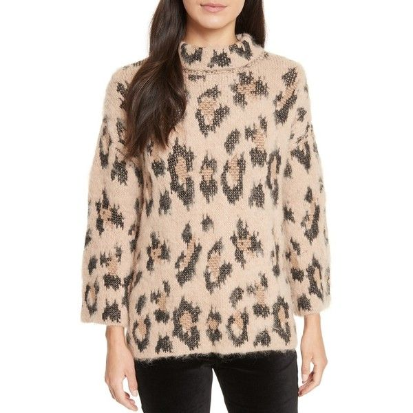Women's Kate Spade New York Leopard Print Chunky Sweater ($328) ❤ liked on Polyvore featuring tops, sweaters, warm caramel, dot sweater, kate spade, slouchy tops, chunky sweater and polka dot top