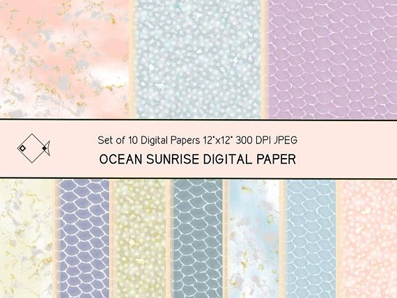 Winter sunrise digital papers, instant download, pastel backgrounds