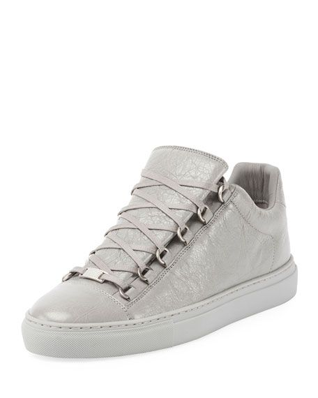 BALENCIAGA Men'S Arena Leather Low-Top Sneaker, White. #balenciaga #shoes #