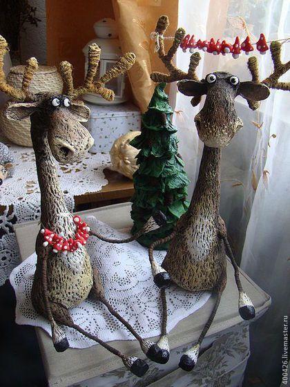 Супруги Лосевы) - коричневый,лось,животные,Папье-маше,авторская игрушка