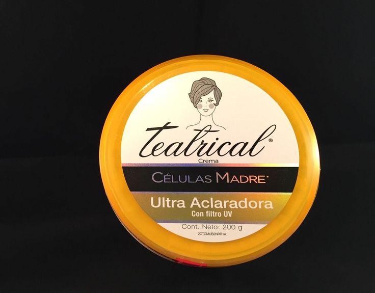 Teatrical Células Madre Crema Aclaradora 200 gms.  Crema de uso diario a base de células madre.  Aclara y reafirma el área de los parpados, las ojeras y la papada.