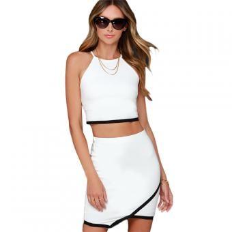 Women Twinset Conjunto gemelo Crop Top And Mini Irregularity Skirt