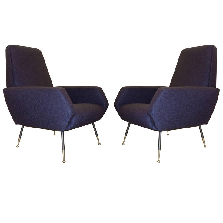 Pair Of Shapely Dark Blue Armchairs, Italian, 1950s. Blue ArmchairModern  LoungeAntique FurnitureMid ...