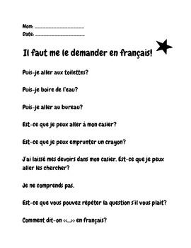 Il faut me le demander en français! You need to ask in French poster and handout. Useful French questions and phrases.