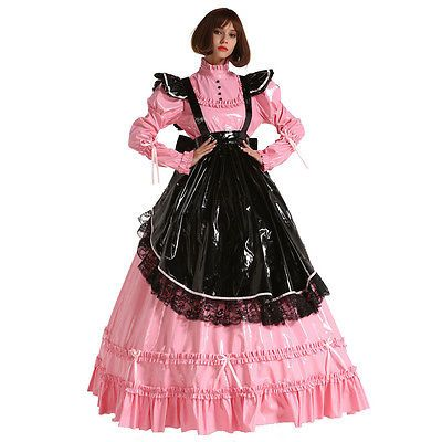 French Style PVC Sissy Maid Lockable Long Dress Costume Mistress Crossdress