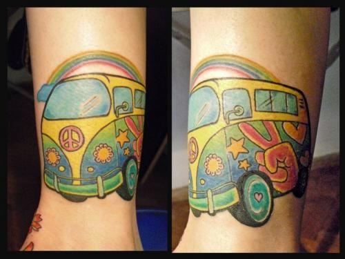 Hippie Tattoo Designs   Tatuaje camioneta hippie volkswagen - Tattoos and Tattoo Designs