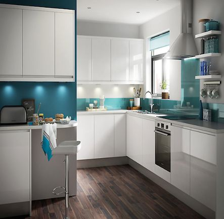 B&Q IT Marletti White Gloss Kitchen.  Kitchen-compare.com - Home - Independent Kitchen Price Comparisons