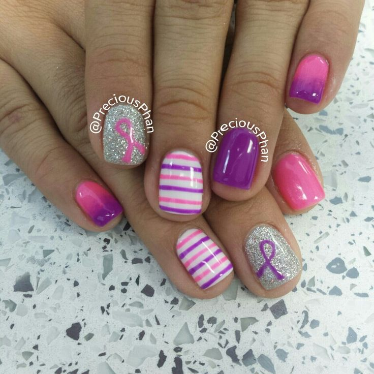 Breast cancer awareness and pancreatic cancer awareness nails. Ombre and stripes