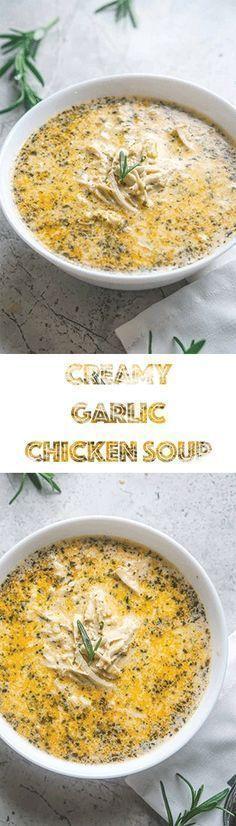 Creamy Garlic Chicken Soup - Low Carb Keto Soup Recipe Super easy and fast recipe