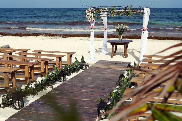 Chic and rustic beach wedding decor, rustic chuppah, wooden aisle, rustic benches, beach ceremony, beach wedding setup, wedding inspiration, Tulum Wedding, Quetzal Photo