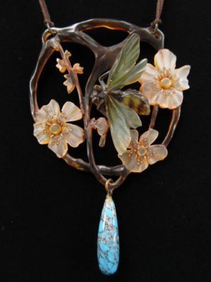 Art Nouveau carved and painted horn