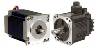 A stepper motor has concerning an equivalent force as a comparably sized servo motor frame.
