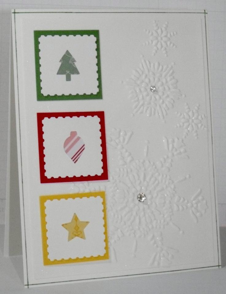 Set of 6 Handmade Christmas Cards Glittered
