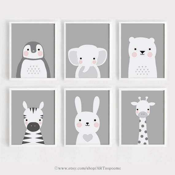 Printable Nursery Wall Art Set Of 6 Poster Baby Art Kids Room