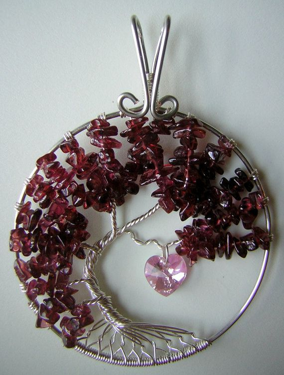 Garnet Tree of Life Pendant with Pink Swarovski Heart on Etsy, $55.00